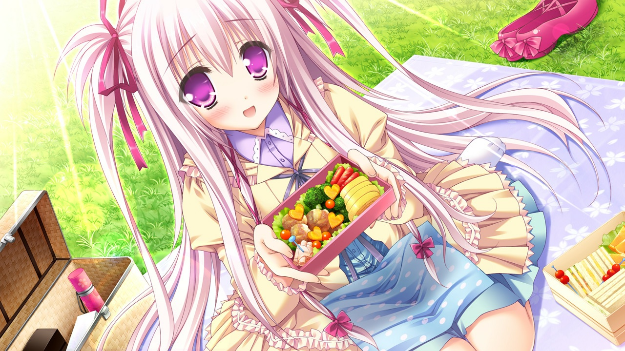 blush food game_cg grass long_hair lump_of_sugar moekibara_fumitake oumi_kokoro pink_eyes pink_hair ribbons sekai_to_sekai_no_mannaka_de skirt