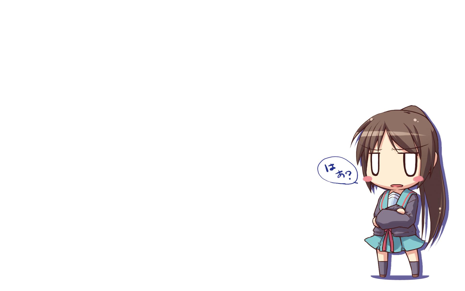 chibi genderswap hirose_madoka kyonko school_uniform suzumiya_haruhi_no_yuutsu white