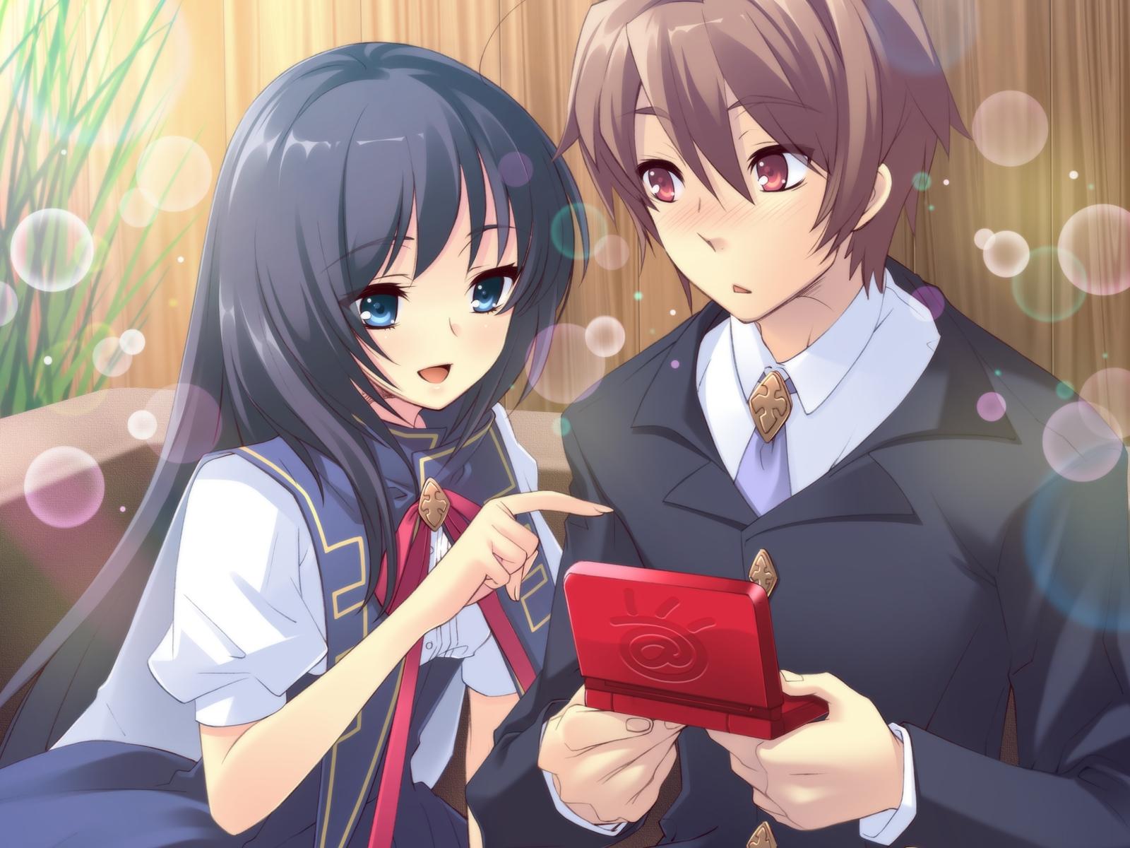 blush bubbles flyable_heart game_cg itou_noiji katsuragi_syo school_uniform shirasagi_mayuri
