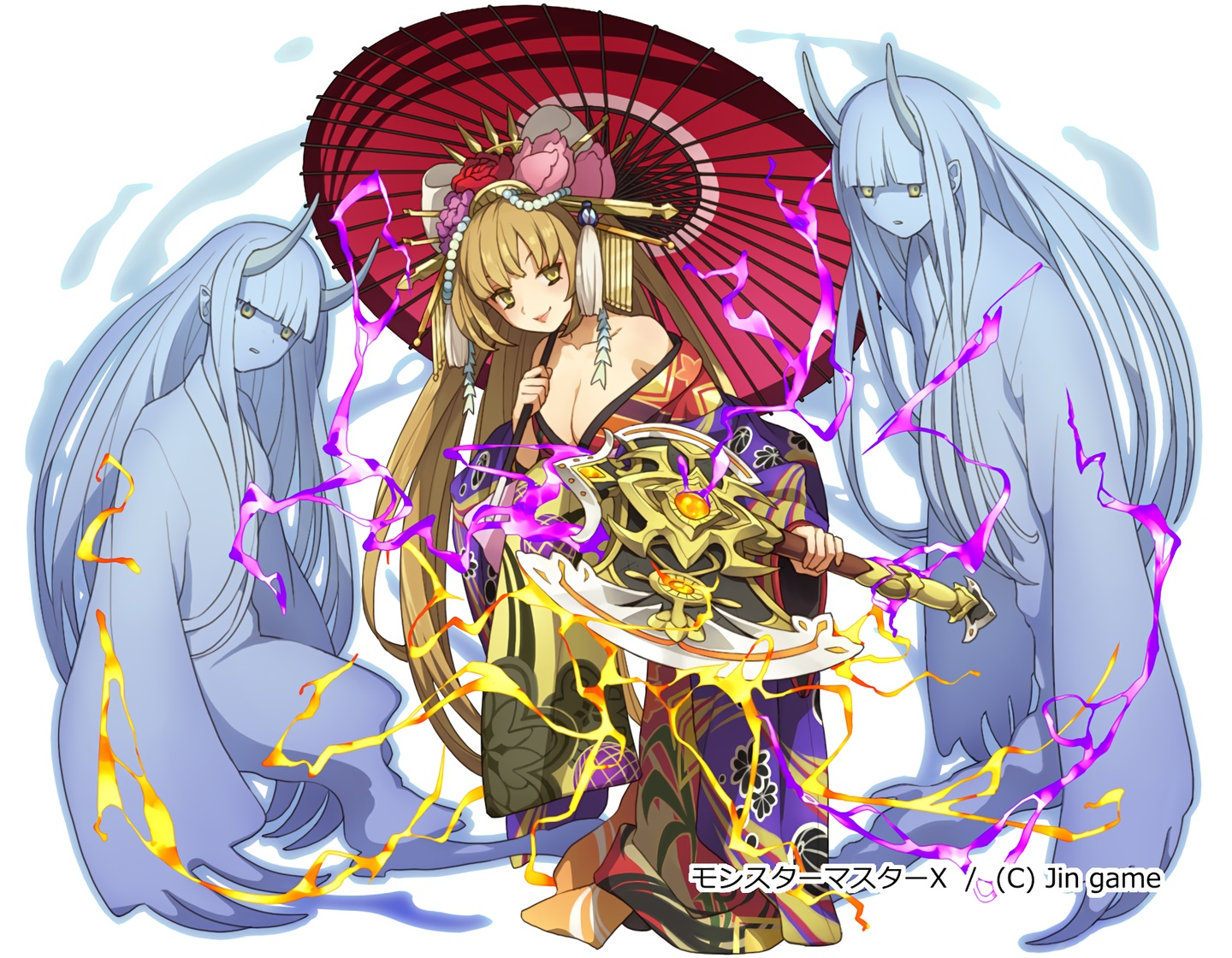 breasts brown_hair cleavage headdress horns japanese_clothes kimono long_hair maasa magic original pointed_ears umbrella waifu2x weapon yellow_eyes