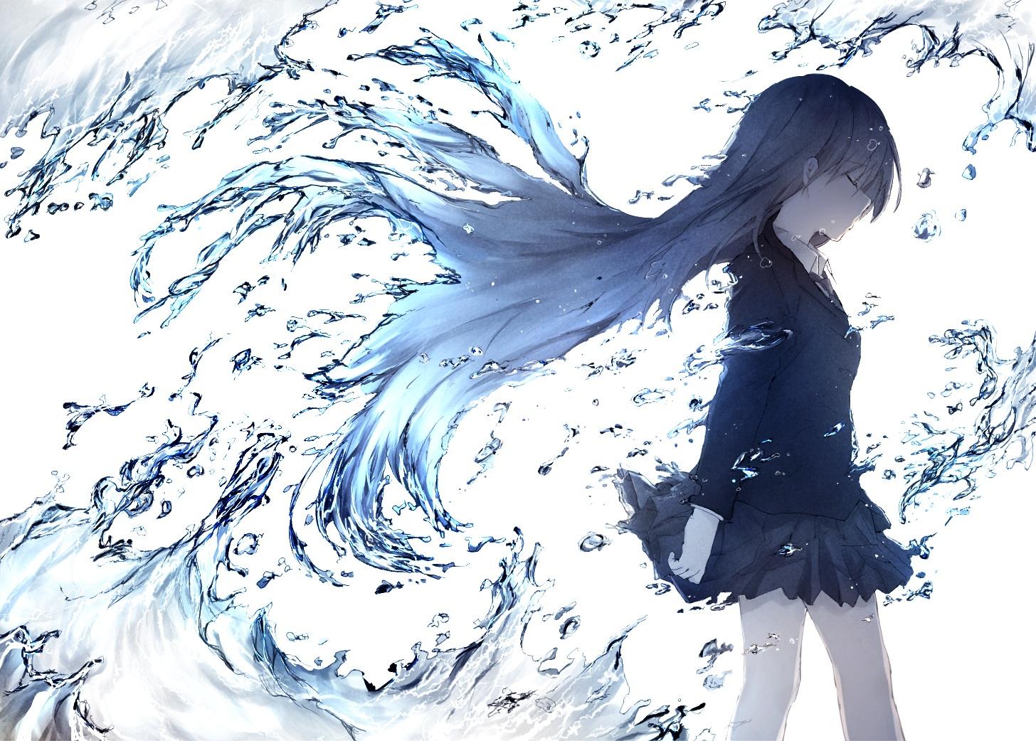 aliasing brown_hair haru_(re_ilust) long_hair original polychromatic school_uniform skirt tie water