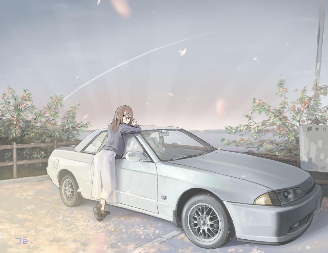 brown_hair car dress glasses jettoburikku long_hair original petals signed sky