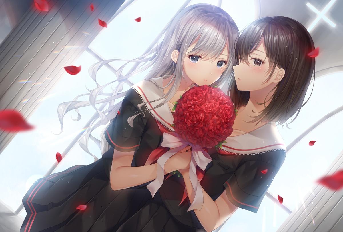 2girls brown_eyes brown_hair flowers gray_hair long_hair noda_shuha original rose school_uniform short_hair shoujo_ai
