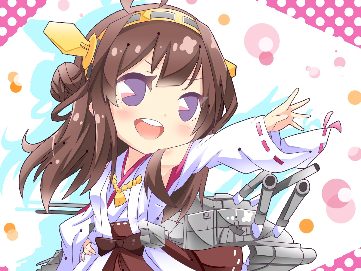 anthropomorphism blush brown_hair chibi headband japanese_clothes kantai_collection kongou_(kancolle) long_hair miko purple_eyes shinekalta weapon