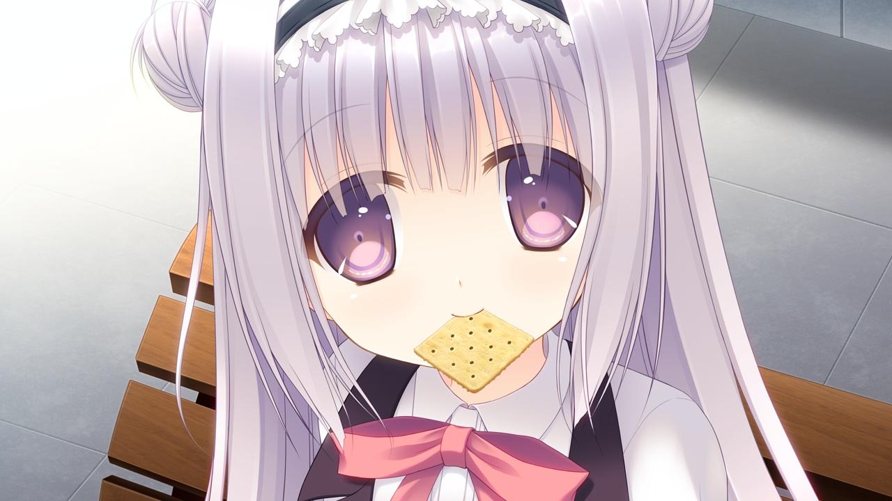 bow close food game_cg gray_hair headband long_hair navel_honeybell purple_eyes shiina_tyris_eluard sora_tobu_hitsuji_to_manatsu_no_hana tanihara_natsuki