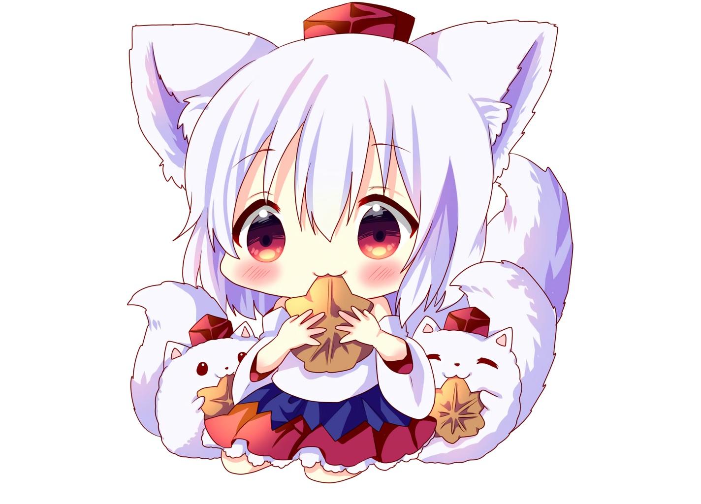 animal animal_ears blush cat_smile chibi hat hina_hina inubashiri_momiji japanese_clothes red_eyes short_hair skirt tail touhou waifu2x white white_hair wolfgirl