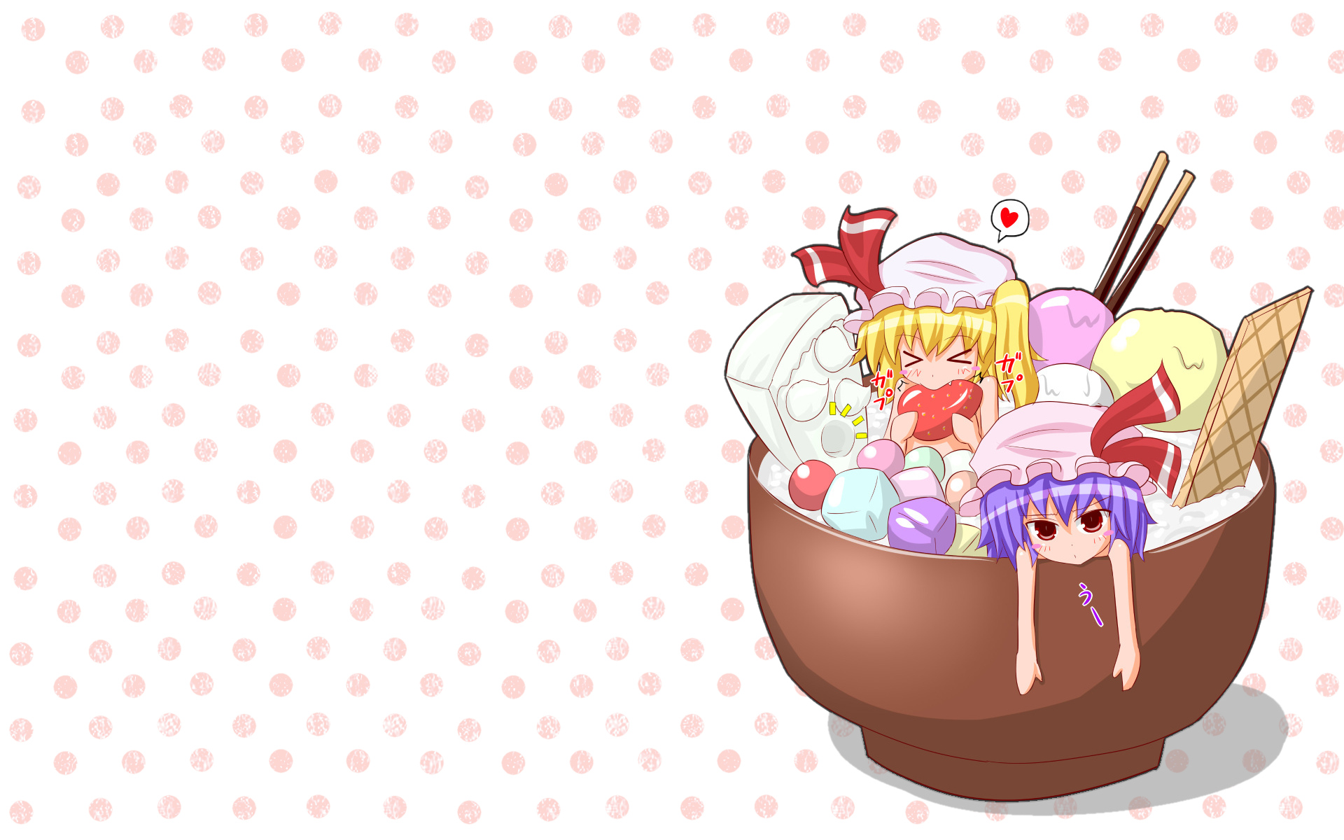 2girls fang flandre_scarlet food gin'you_haru ice_cream pocky remilia_scarlet touhou vampire