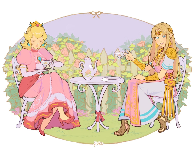 2girls aqua_eyes blonde_hair crown dress drink flowers jivke long_hair pointed_ears princess_peach princess_zelda rose signed super_mario_bros super_smash_bros. the_legend_of_zelda wristwear
