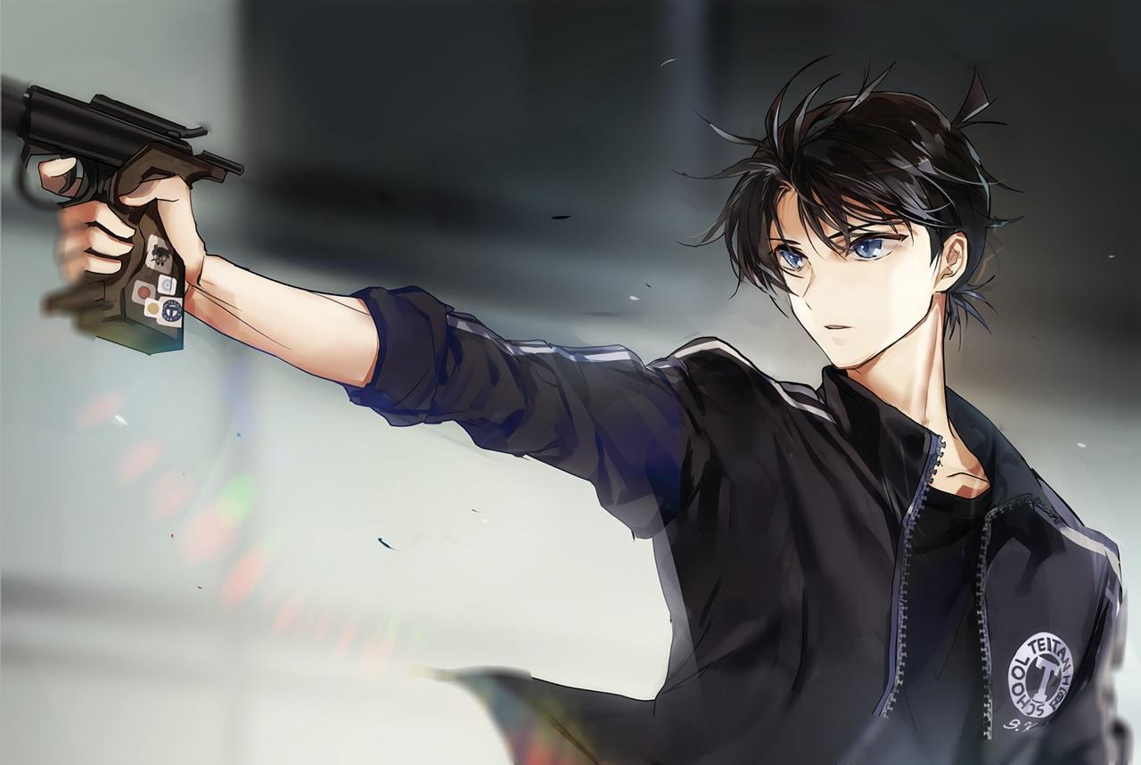 all_male black_hair blue_eyes detective_conan gun joypyonn kudou_shinichi male short_hair waifu2x weapon