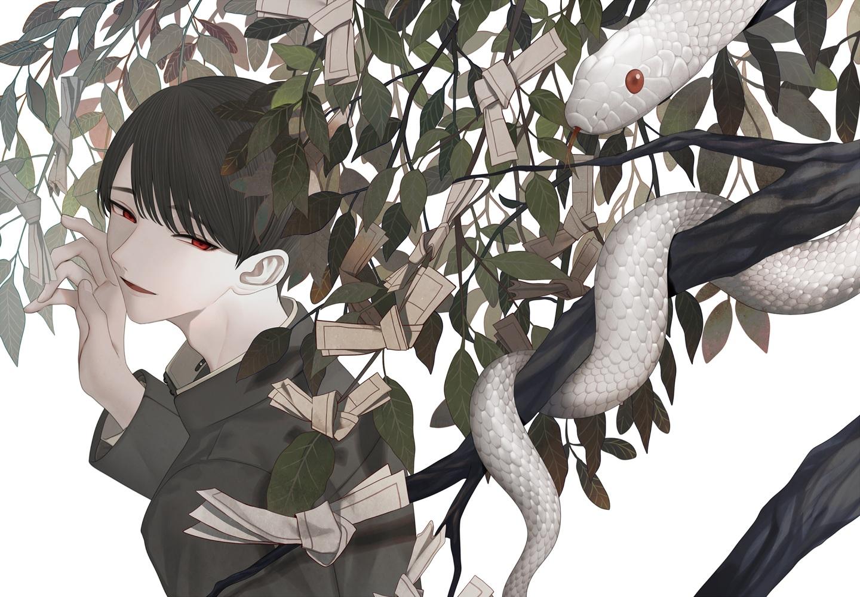 all_male animal black_hair chinikuniku close male original paper polychromatic red_eyes short_hair snake tree