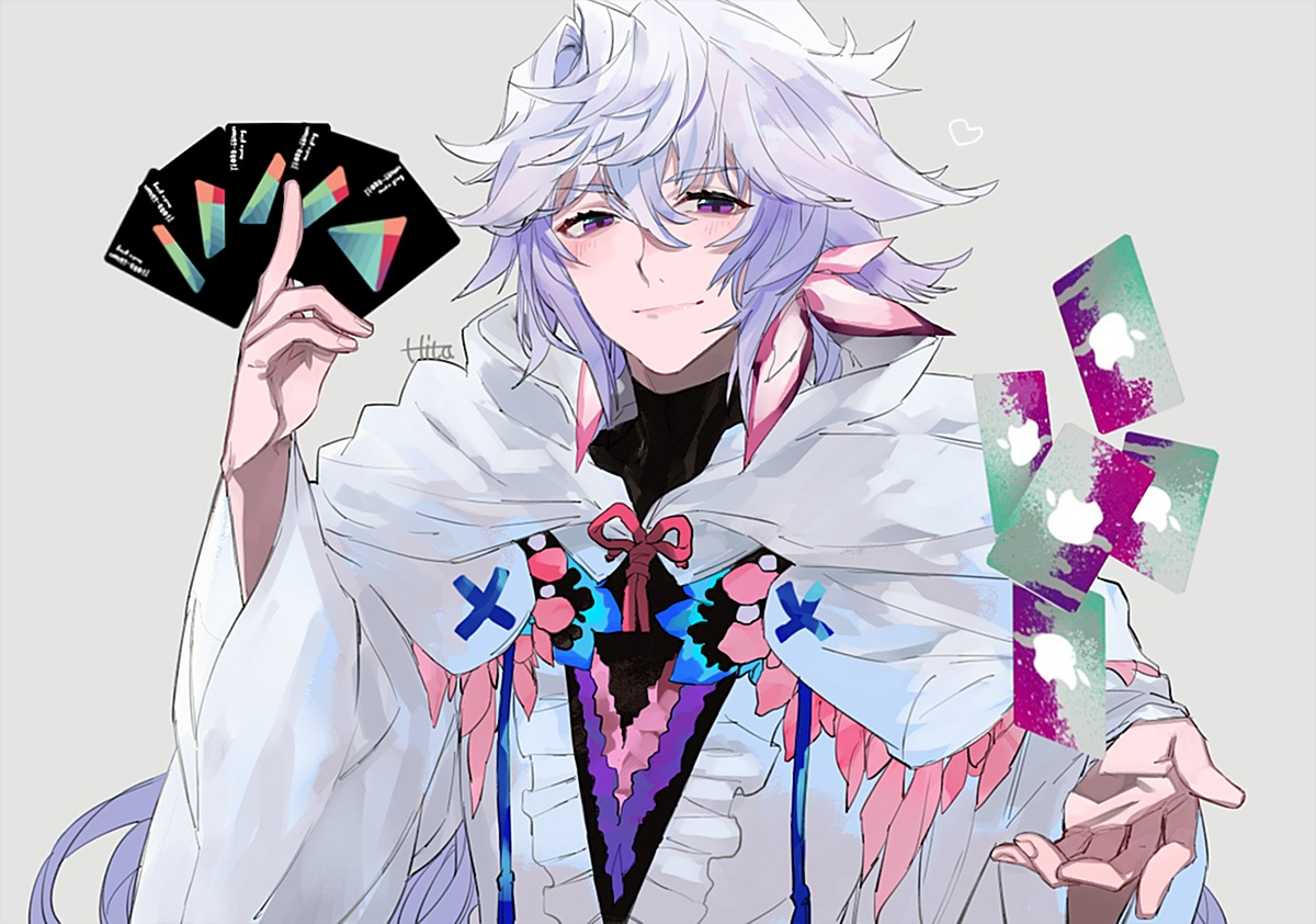 all_male cape fate/grand_order fate_(series) hita_(hitapita) hoodie long_hair male merlin_(fate/grand_order) purple_eyes signed white_hair
