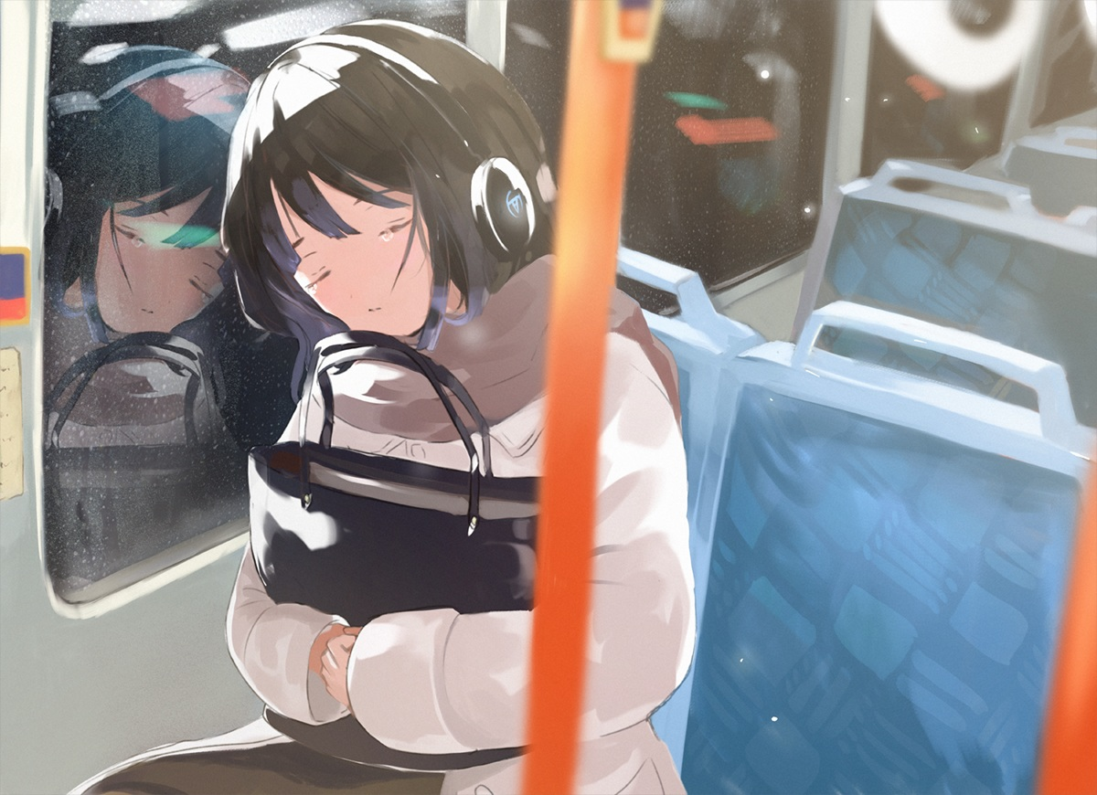 black_hair headphones original reflection scarf sleeping snow tasuku_(otomebotan)