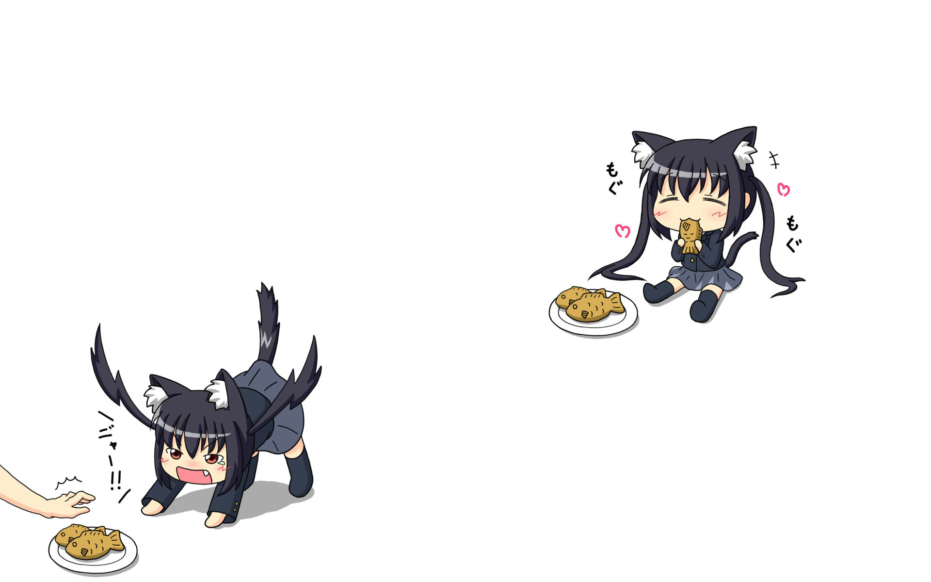 animal_ears black_hair catgirl chibi food k-on! nakano_azusa school_uniform tail taiyaki white