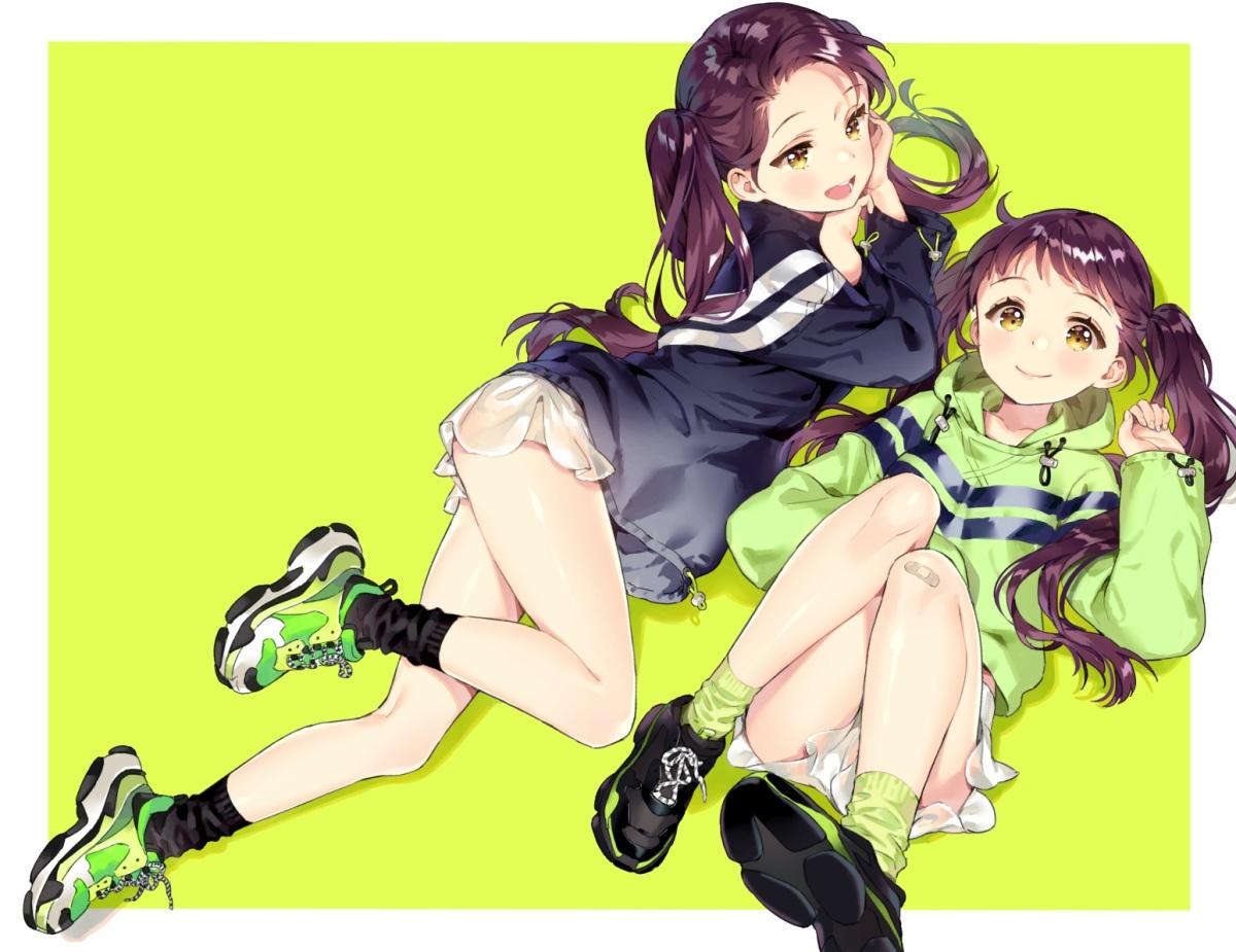 2girls ancotaku bandaid brown_hair green hoodie long_hair original shorts socks twins twintails yellow_eyes