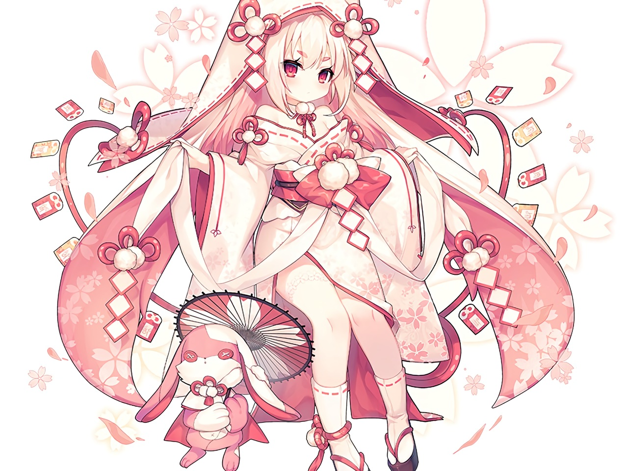 bunny cherry_blossoms cropped flowers hoodie japanese_clothes loli long_hair miko original pink polychromatic red_eyes socks umbrella utm waifu2x white white_hair