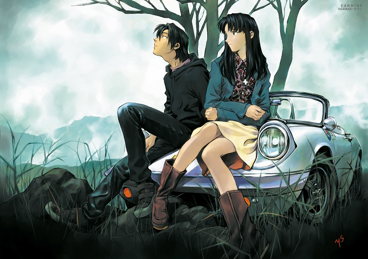 boots car gainax katsuragi_misato male neon_genesis_evangelion ryoji_kaji sadamoto_yoshiyuki signed tree watermark