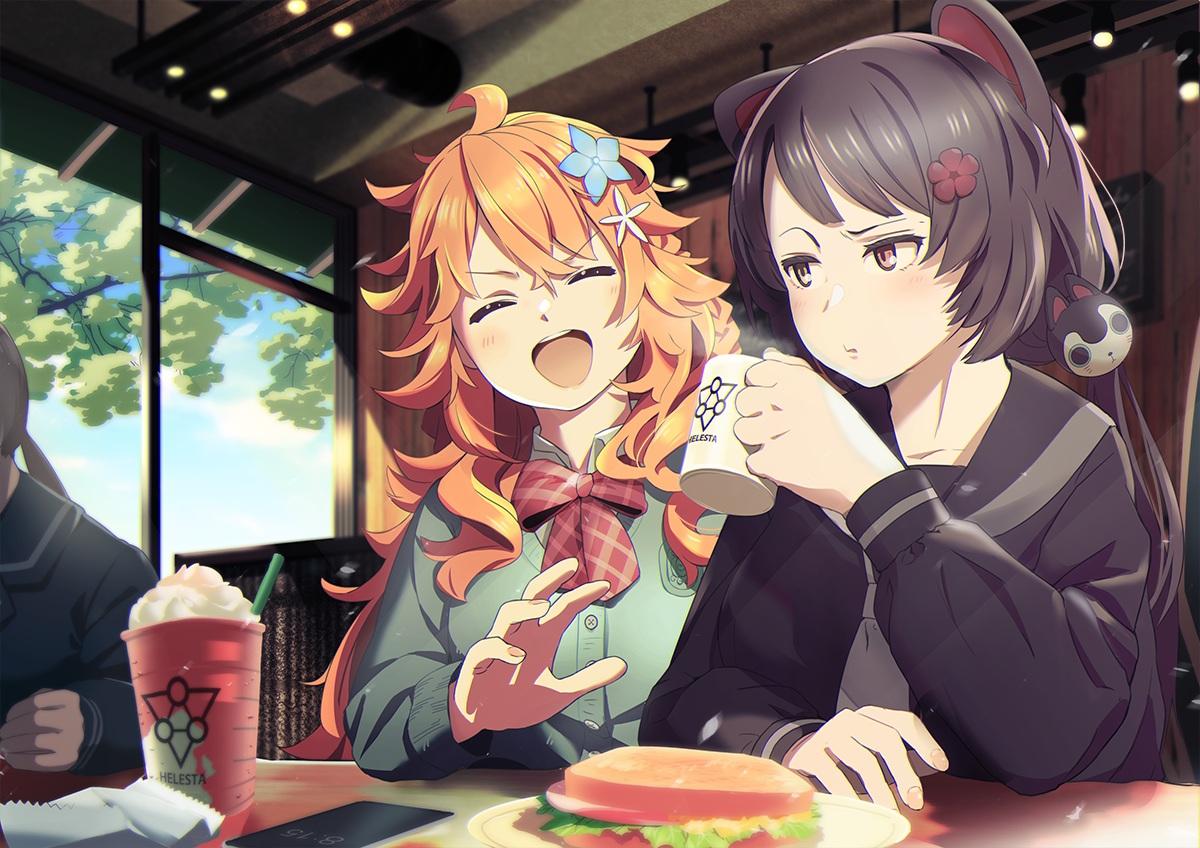 2girls animal_ears black_hair bow brown_eyes doggirl drink food inui_toko kazufumi_(kaz-newt) long_hair nijisanji orange_hair otogibara_era phone school_uniform twintails