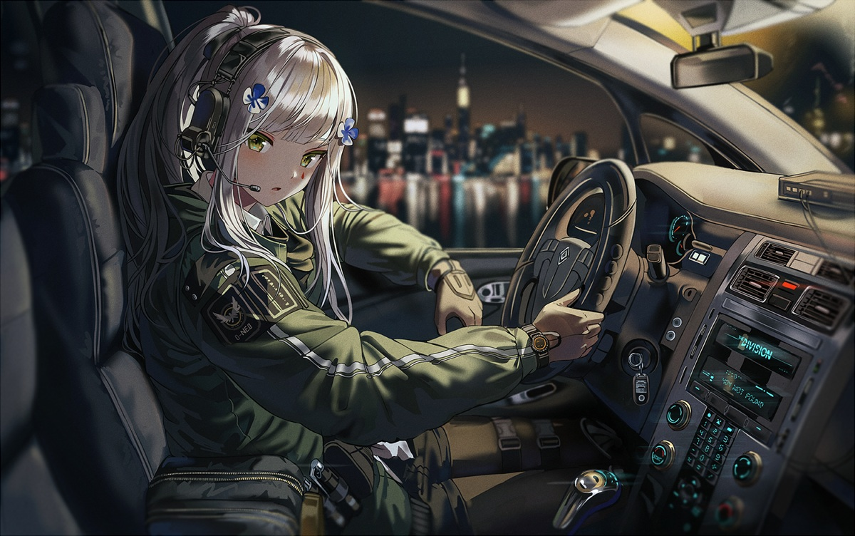 anthropomorphism building city girls_frontline gloves gray_hair green_eyes headphones hk416_(girls_frontline) long_hair pantyhose ponytail silence_girl tom_clancy's_the_division