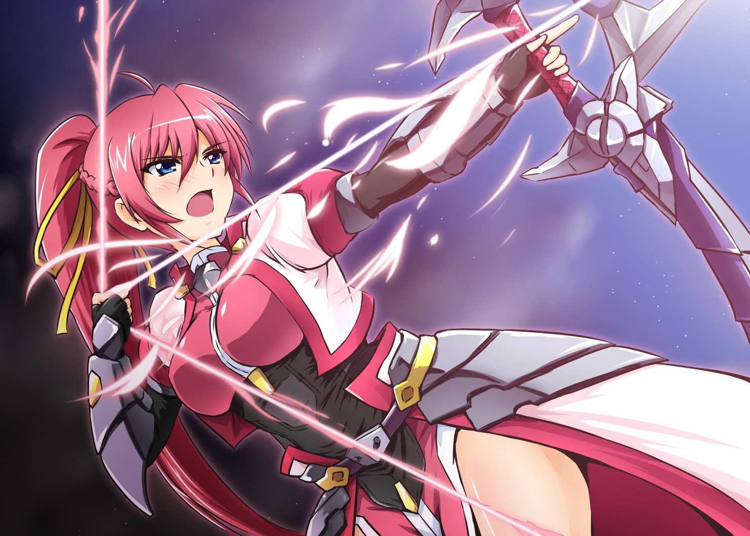 blue_eyes blush bow_(weapon) braids breasts diesel-turbo elbow_gloves gloves long_hair mahou_shoujo_lyrical_nanoha mahou_shoujo_lyrical_nanoha_a's pink_hair ponytail signum weapon