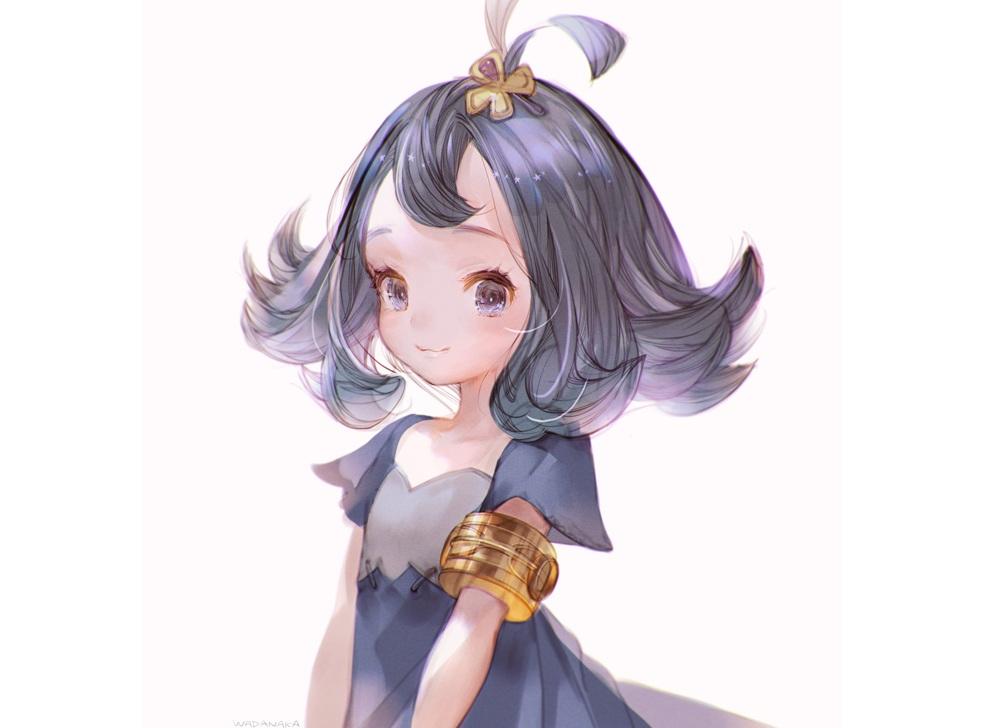acerola_(pokemon) cat_smile dress flat_chest loli pokemon purple_eyes purple_hair short_hair wadanaka white