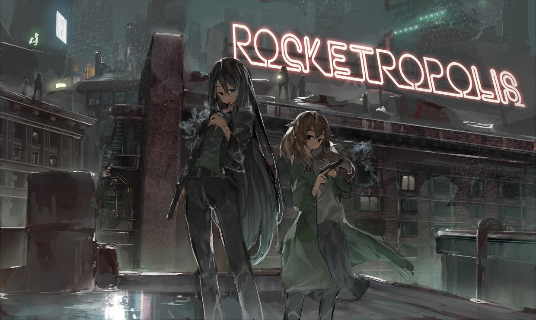 2girls black_eyes black_hair brown_hair building cigarette city dark gun long_hair night original ph. rain smoking water weapon