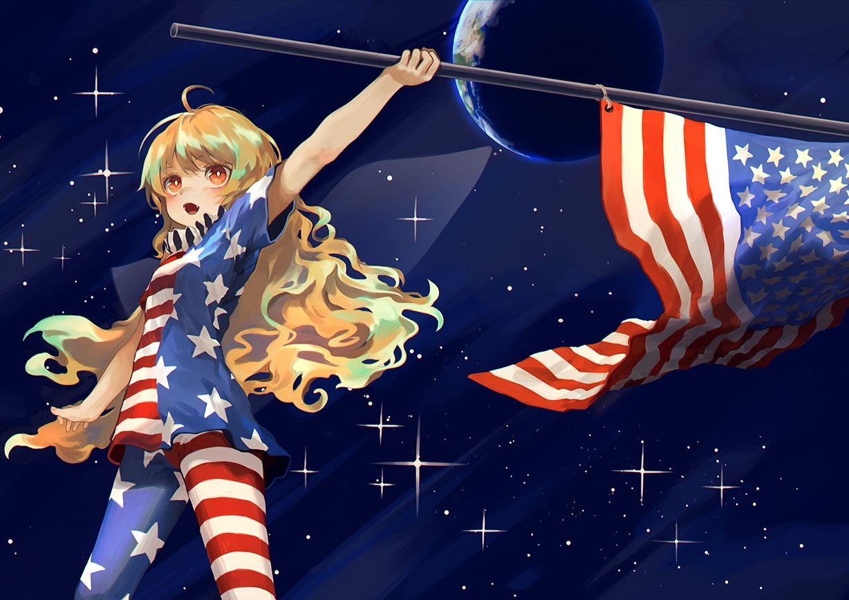 bellabow blonde_hair blush clownpiece earth fang long_hair orange_eyes planet space stars touhou