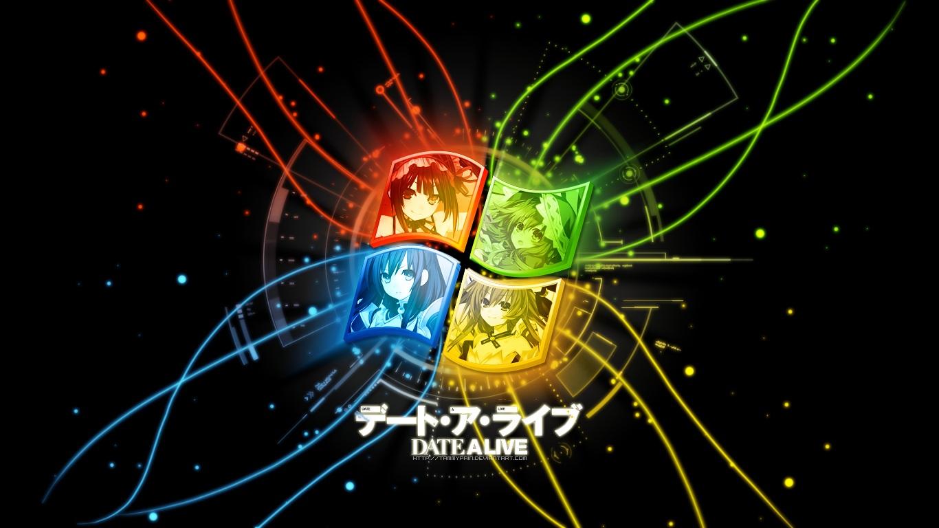 armor bicolored_eyes date_a_live hat itsuka_kotori long_hair parody tokisaki_kurumi tsunako watermark windows yatogami_tohka yoshino_(date_a_live)