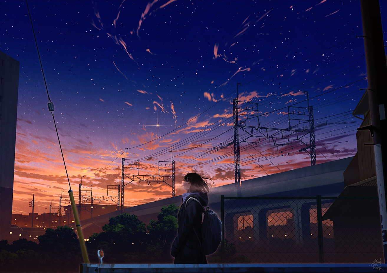 black_hair building city clouds mocha_(cotton) original scenic school_uniform short_hair signed sky stars sunset