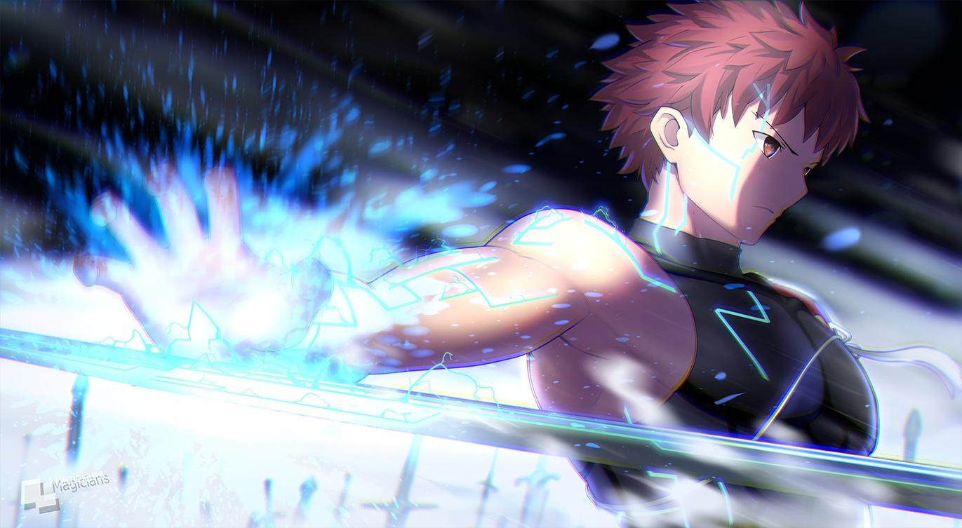 all_male fate/grand_order fate_(series) magic magicians male red_eyes red_hair sengo_muramasa short_hair skintight tattoo watermark weapon