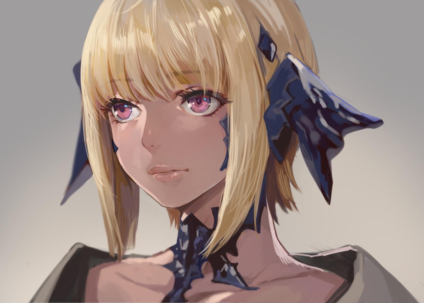au_ra blonde_hair close final_fantasy final_fantasy_xiv gradient gray momoko_(momopoco) pink_eyes short_hair