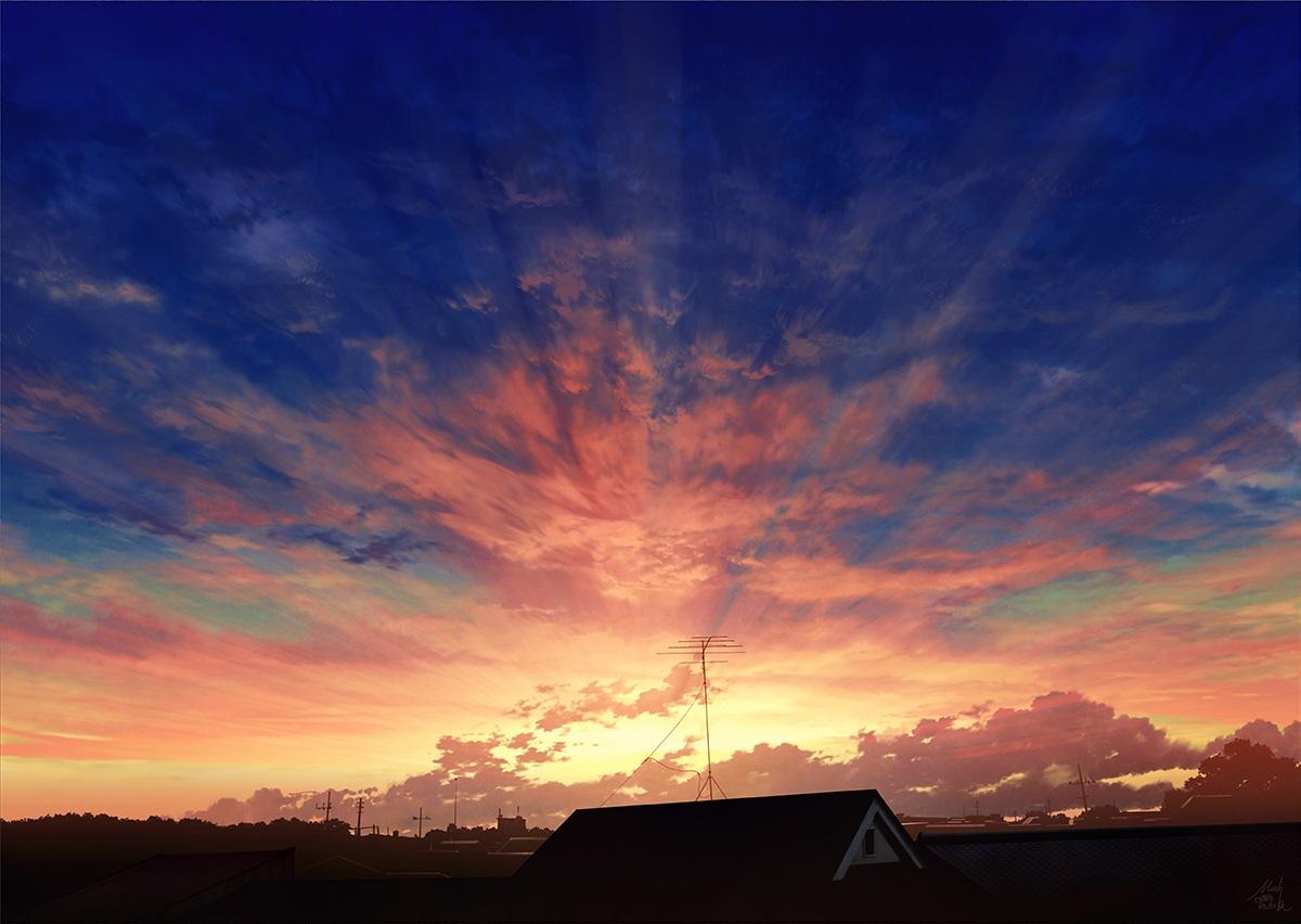 building city clouds mocha_(cotton) nobody original scenic signed sky sunset