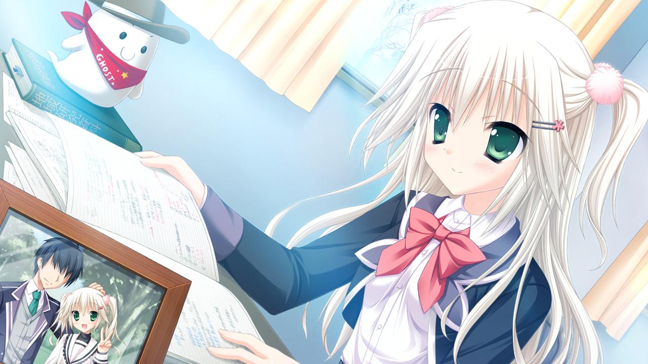 book bow game_cg green_eyes hat hatsuyuki_sakura hontani_kanae long_hair saga_planets school_uniform shirokuma twintails white_hair