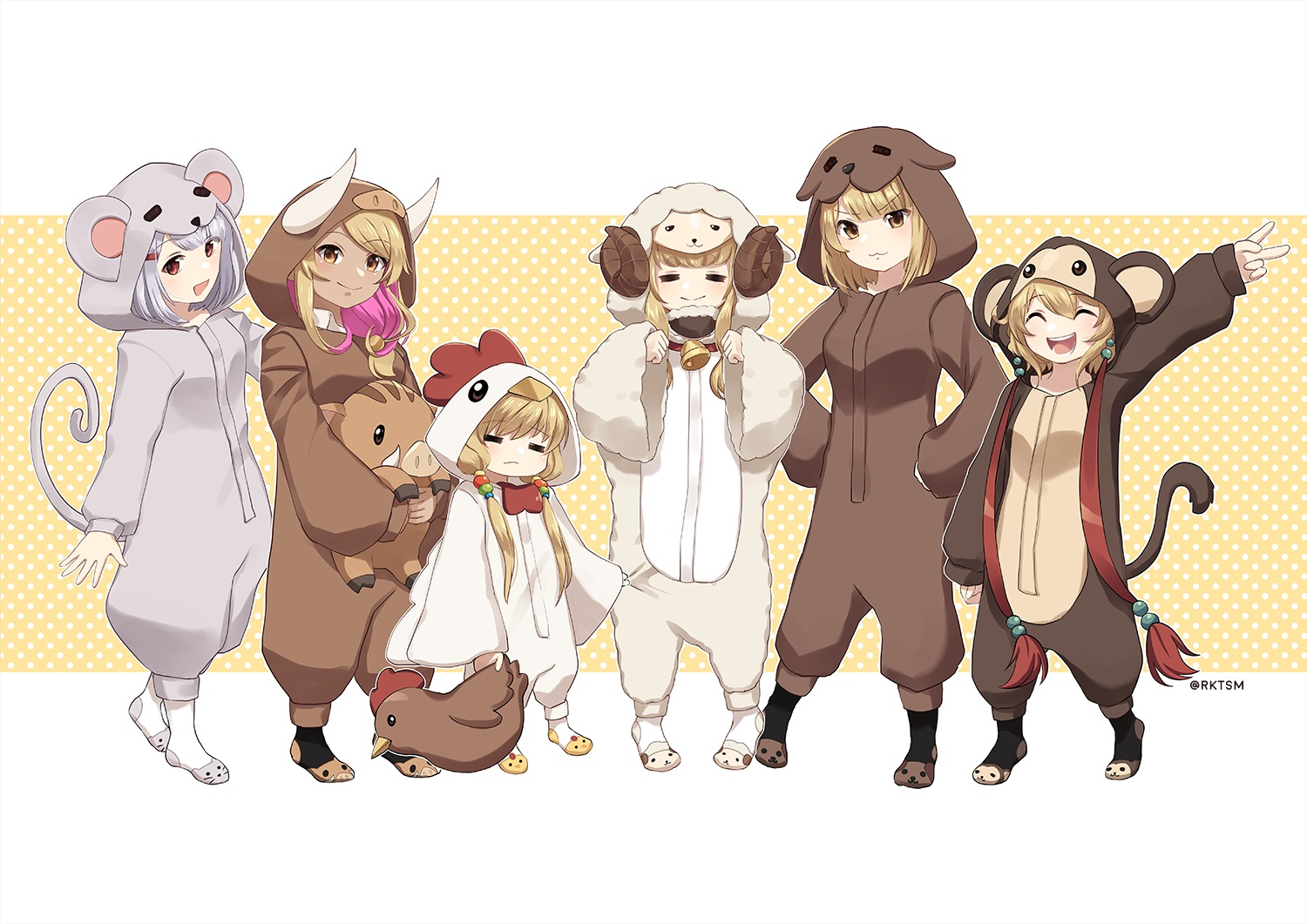 andira_(granblue_fantasy) anila_(granblue_fantasy) animal_ears bell brown_eyes brown_hair cat_smile dark_skin granblue_fantasy gray_hair group hoodie horns kuvira_(granblue_fantasy) loli mahira_(granblue_fantasy) pajamas rktsm short_hair signed tagme_(character) tail twintails vajra_(granblue_fantasy)