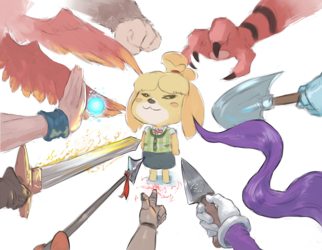 armor bandana_waddle_dee banjo_(banjo-kazooie) banjo-kazooie cat_smile crossover cutesexyrobutts doggirl doubutsu_no_mori dragonball fire geno_(mario) gloves golden_sun group kazooie_(banjo-kazooie) kirby long_hair magic parody pokemon purple_hair robin_(golden_sun) shantae_(character) shantae:_half_genie_hero shizue_(doubutsu_no_mori) shovel_knight shovel_knight_(character) son_goku spear super_mario super_mario_bros super_smash_bros. sword waluigi weapon wings wristwear