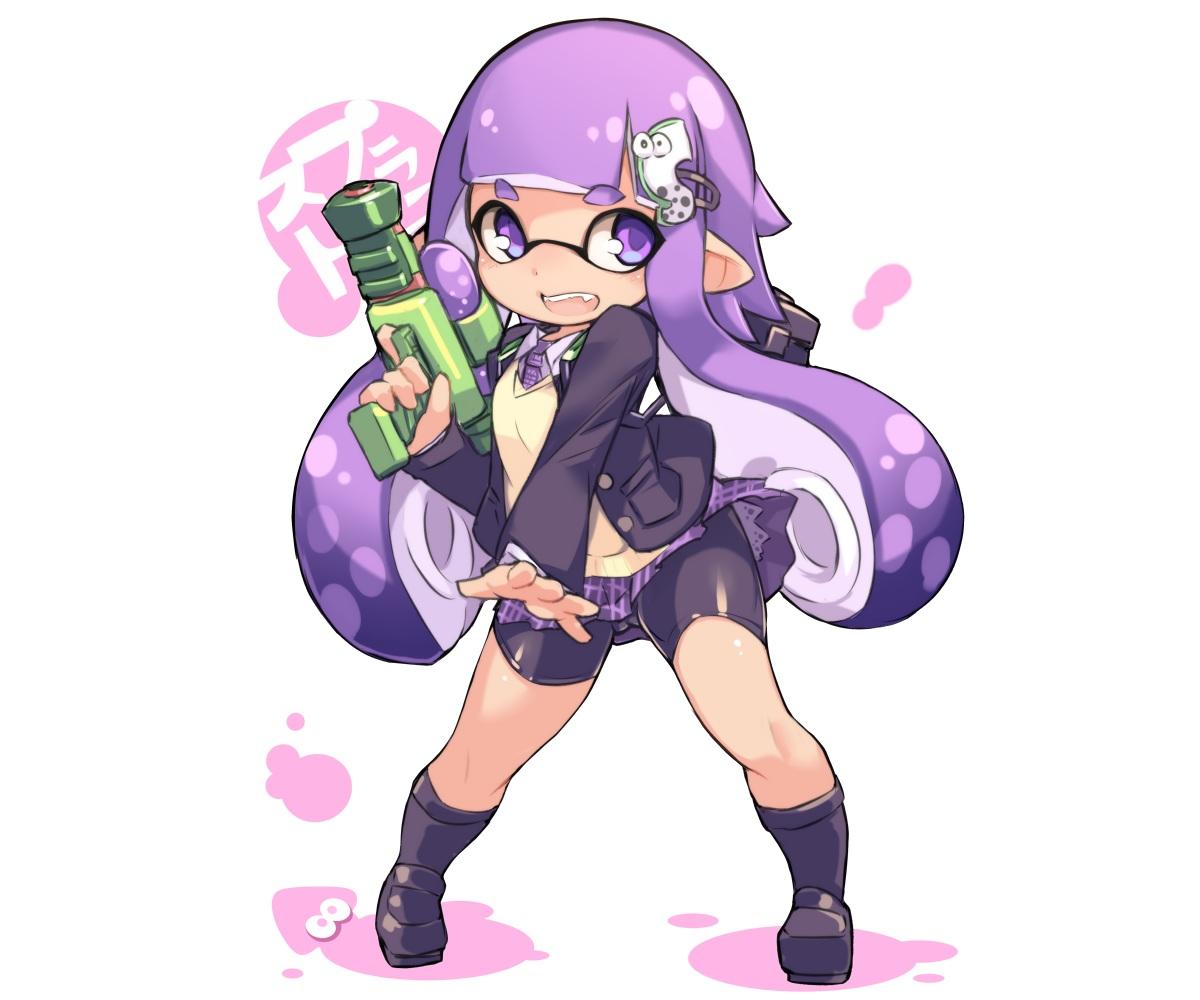 bike_shorts cameltoe chibi fang gun inkling karukan_(monjya) kneehighs long_hair pointed_ears purple_eyes purple_hair school_uniform shorts skirt splatoon tentacles tie weapon white