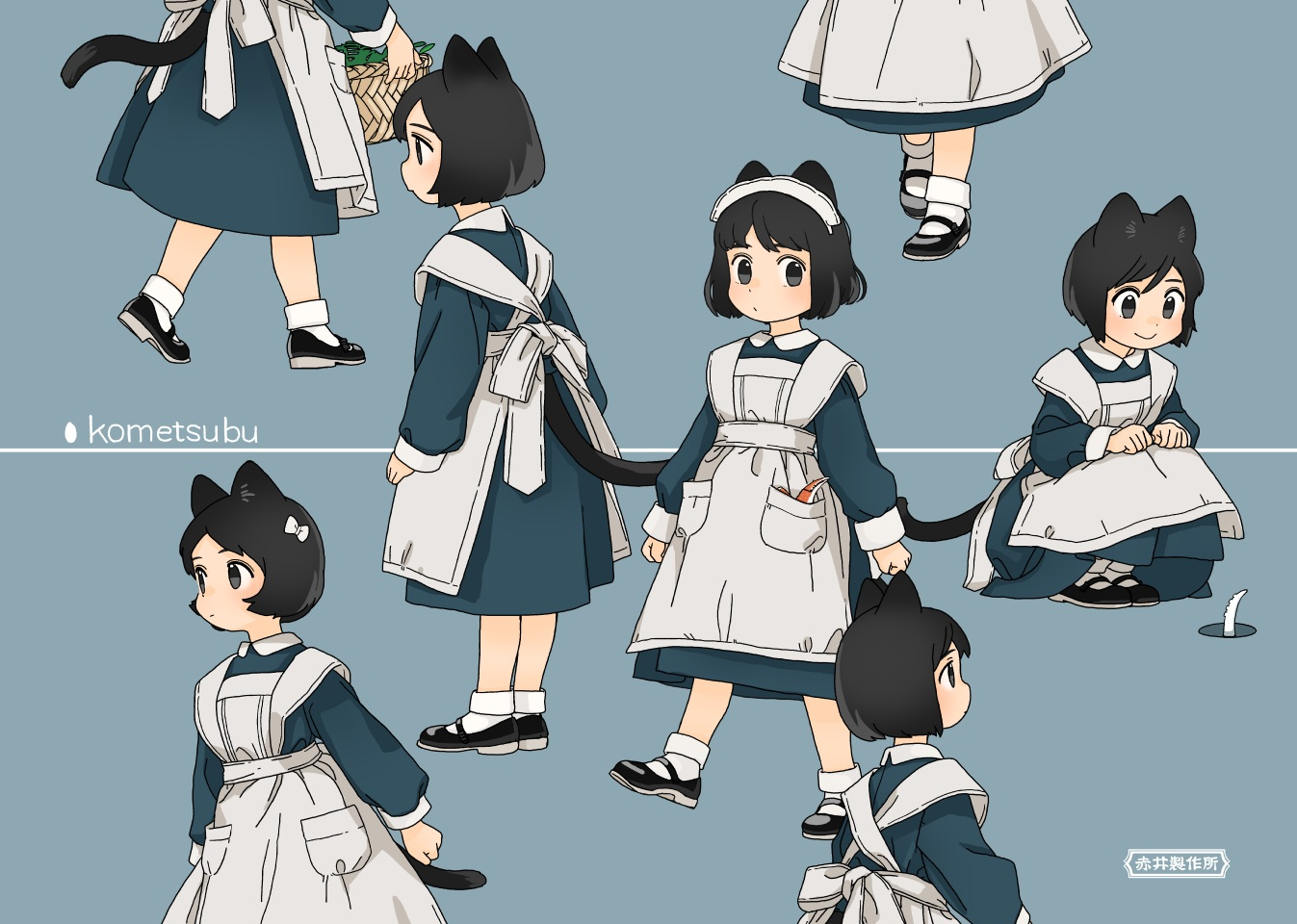 akai_sashimi animal_ears apron black_eyes black_hair blue catgirl headdress loli maid original short_hair socks tail