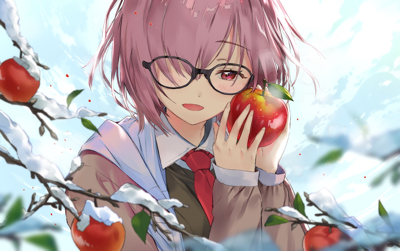 akiru_(igel-flutter) apple clouds fate/grand_order fate_(series) food fruit glasses mash_kyrielight pink_hair red_eyes short_hair sky snow tie waifu2x