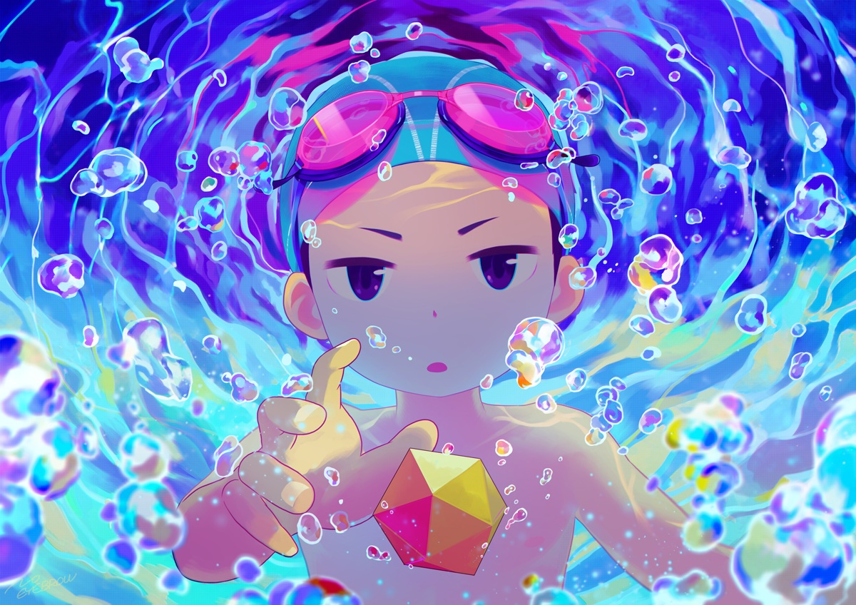 all_male black_eyes bubbles goggles hat male noeyebrow_(mauve) original underwater water