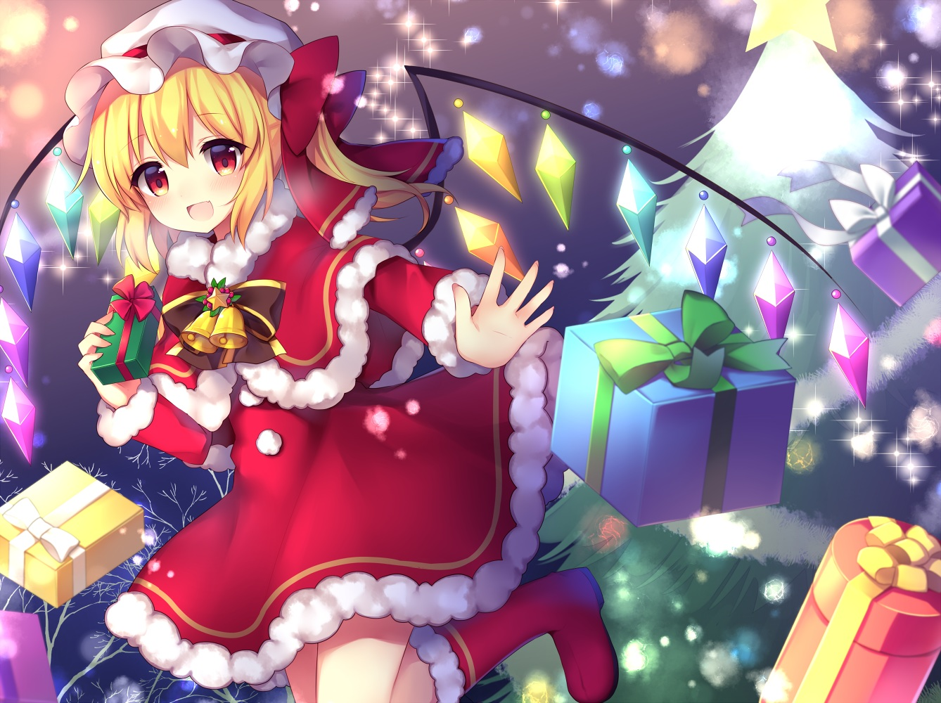 bell blonde_hair boots bow cape christmas dress flandre_scarlet hat ponytail red_eyes ruhika santa_costume touhou tree vampire wings