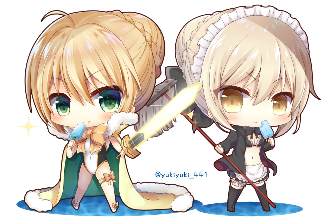 apron bikini blonde_hair bow braids breasts cape chibi cleavage fate/grand_order fate_(series) garter green_eyes headdress hoodie maid popsicle ribbons saber saber_alter short_hair skirt swimsuit sword thighhighs waifu2x watermark weapon white yellow_eyes yukiyuki_441