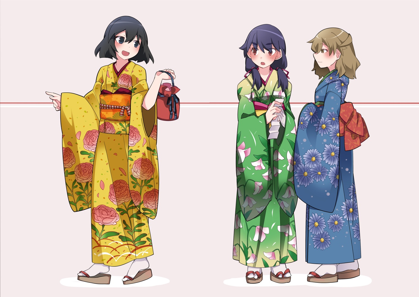 hammer_(sunset_beach) hanamonogatari higasa_seiu japanese_clothes kanbaru_suruga kimono monogatari_(series) numachi_rouka