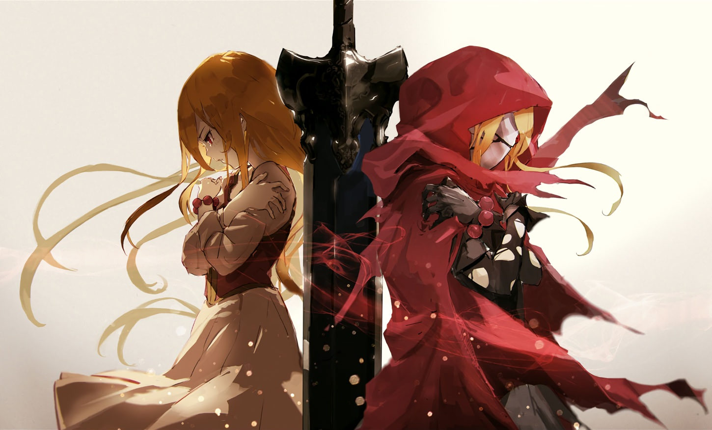 blonde_hair cape cropped evileye gradient long_hair mask overlord red_eyes so-bin sword weapon