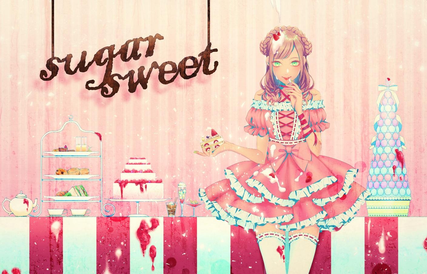 cake dress food fruit lolita_fashion ohagi_(ymnky) original strawberry thighhighs