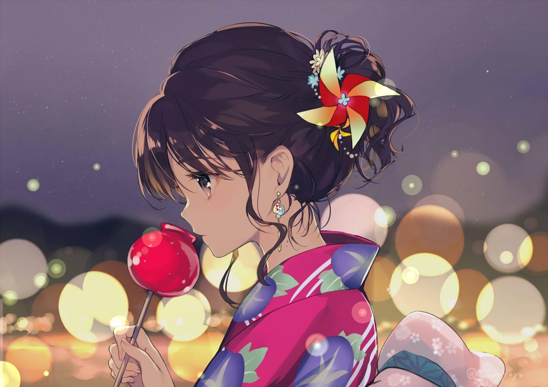 apple brown_eyes brown_hair candy close food fruit gin_(oyoyo) japanese_clothes original signed yukata