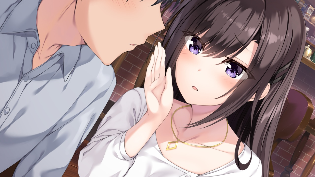brown_hair close game_cg hibiki_works necklace oryou purple_eyes re_cation_~melty_healing~ tsukinose_riho