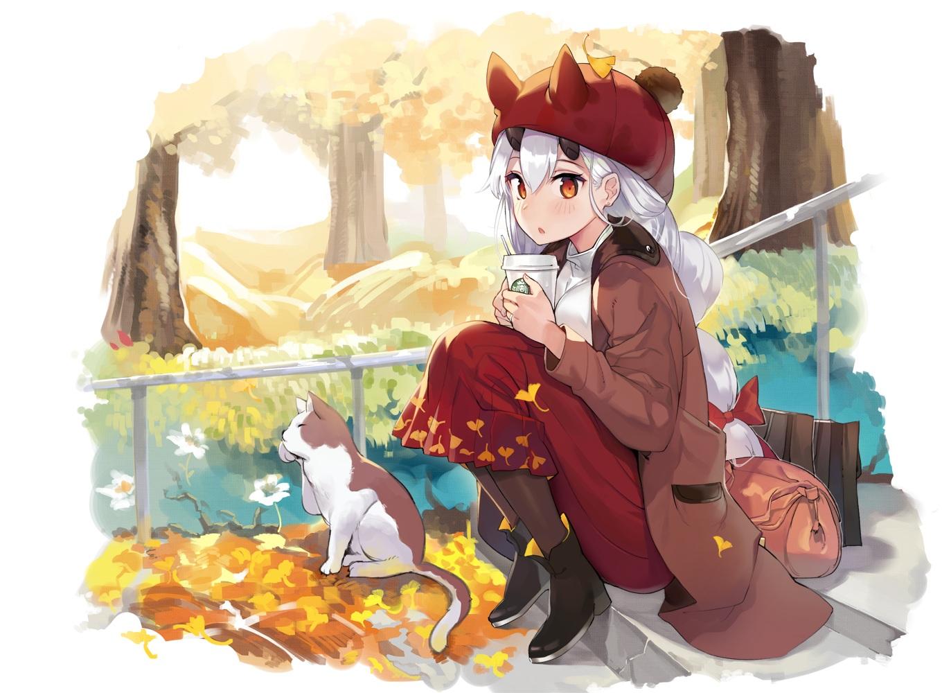 animal autumn blush boots cat drink fate/grand_order fate_(series) hat horns jehyun leaves long_hair orange_eyes pantyhose ponytail skirt stairs tomoe_gozen tree white_hair
