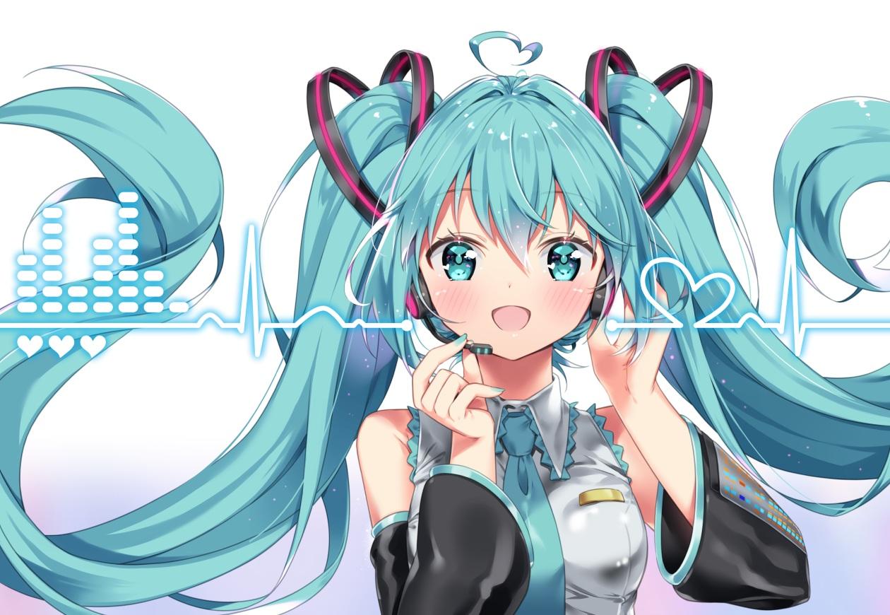 aqua_eyes aqua_hair arami_o_8 blush hatsune_miku headphones long_hair microphone tie twintails vocaloid