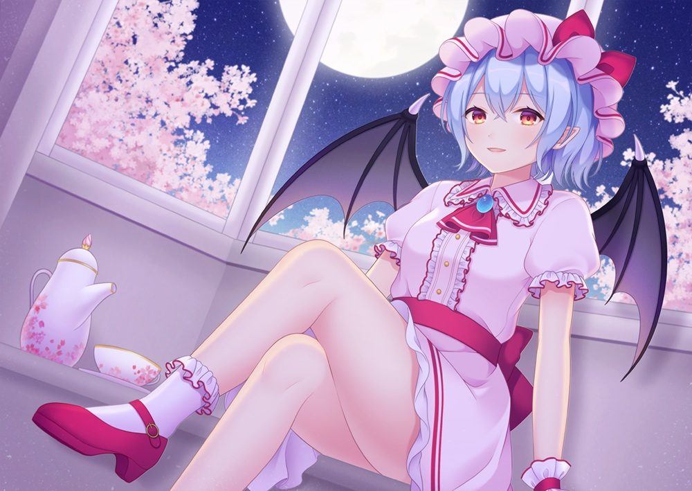 blue_hair cherry_blossoms dress flowers moon night pointed_ears red_eyes remilia_scarlet sky socks stars touhou vampire wings wristwear yamayu