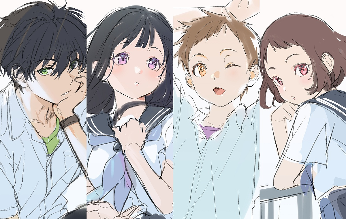 black_hair brown_eyes brown_hair chitanda_eru fukube_satoshi green_eyes hyouka ibara_mayaka long_hair male mery_(apfl0515) oreki_houtarou pink_eyes purple_eyes school_uniform short_hair sketch wink wristwear