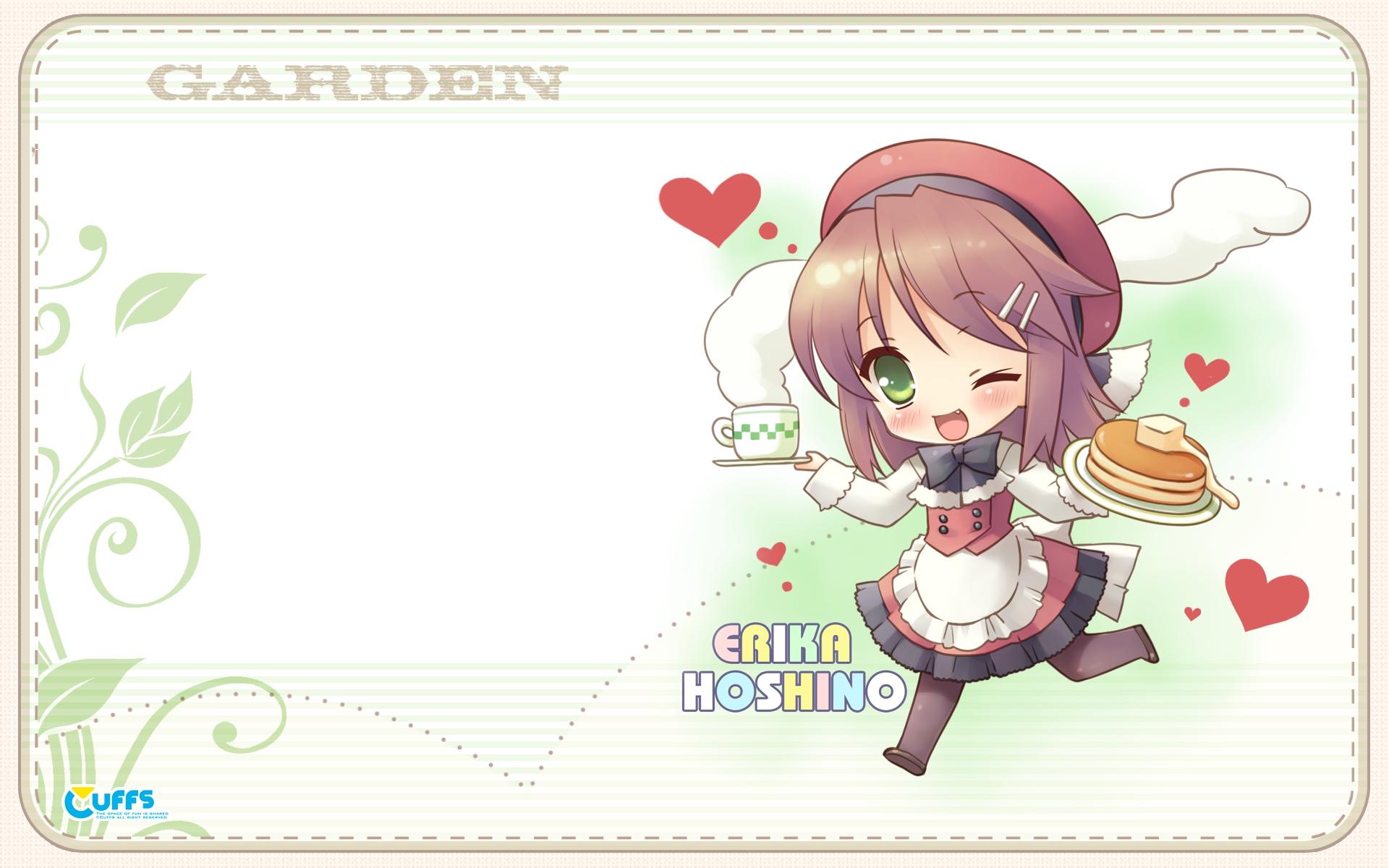 brown_hair cake chibi cuffs_(studio) food garden_(galge) green_eyes hoshino_erika